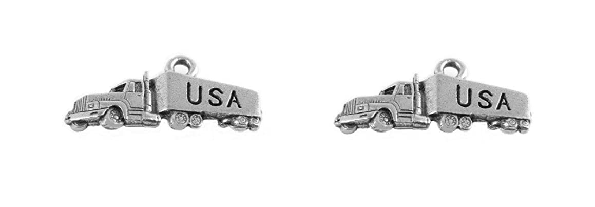 PlanetZia 5pcs Semi, Tractor Trailer, 18 Wheeler,Big Rig Charms USA Made For Jewelry EDN-ST2976 (Antique Silver)