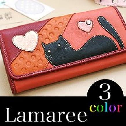 (ラマーレ) LAMAREE 「レディース 長財布」 恋するにゃんこシリーズ (ウォレット 財布) 革 ロング ウォレット 猫 猫柄 ネコ ネコ柄 ねこ ねこ柄 ハート スタッズ