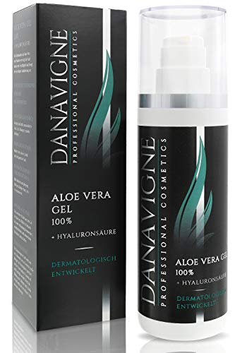Danavigne Aloe Vera Gel mit Hyaluronsäure - Feuchtigkeit und fettfreie Frische - Face & Body Lotion für Männer und Frauen -1er Pack (200ml)