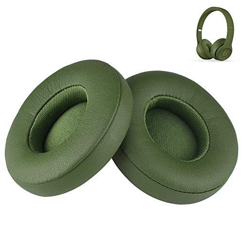 Cuscinetti di ricambio Solo 2/Solo 3 in pelle sintetica memory foam compatibile con cuffie Beats by Dr DRE Solo3 Wireless Solo2 Wired/Wireless A1796/B0518/B0534 (verde)