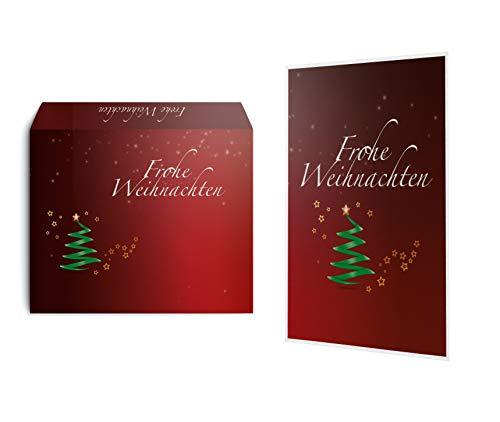 15 Weihnachtskarten mit 15 Umschlägen im Set - Klappkarten für die schönsten Weihnachtsgrüße - Frohe Weihnachten Grußkarte christliche Grüße