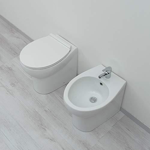 Sanitari bagno filomuro a terra Bidet e Vaso WC in ceramica con sedile coprivaso softclose Iceberg Plus