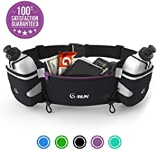 G-RUN Hydration Running Belt with Bottles - Water Belts for Woman and Men - iPhone Belt for Any Phone Size - Fuel Marathon Race Pack for Runners