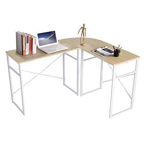 FITATHOME L-förmiger Eck-Computer-Schreibtisch, faltbarer Schreibtisch für Zuhause, Büro, Arbeitsstation, mit Holz-Metall in dunklem Buchenholz, 123 x 103 x 72 cm, Holzwerkstoffe, eiche, 123*103*72