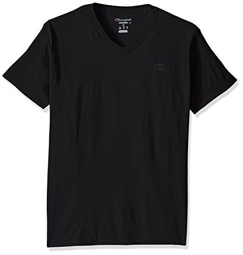 Champion mens Classic Jersey V-neck T-shirt Shirt, Black, XX-Large US
