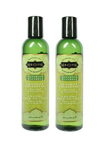 Kama Sutra Naturals Massage Oil - Coconut Pineapple,  8 oz (Set of 2)