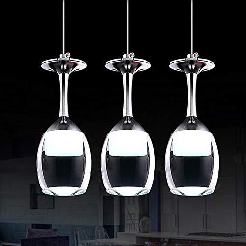 LED Colgante de luz Copa de vino diseño candelabro Comedor Blanco frío ligero Lámpara colgante K9 cristal acrílico Pantalla acero lámpara Ajustable en altura hotel bar Lámpara de techo,3 light