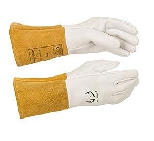 """Weldas DEERSOsoft Pearl Grain Deerskin, 4"""" Cowhide Cuff - Welding MIG/TIG Gloves - Kevlar Sewn - Size L - (4 PAIRS) from WELDAS"""