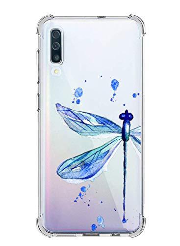 Suhctup Compatible con Samsung Galaxy A70/A70S Funda para Silicona con Dibujos Animados Diseño Cárcasa Ultra-Fina Transparente Suave TPU Choque Cojín de Esquina Parachoque Caso-Libélula Azul