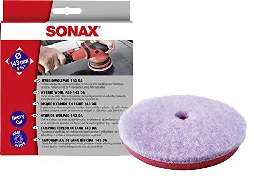 SONAX HybridWollPad 143 DA (1 Stück) für Exzenterpoliermaschinen zur Entfernung tiefer Verkratzungen und Vermattungen | Art-Nr. 04938000