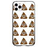 DistinctInk Clear Shockproof Hybrid Case for iPhone 11 (6.1' Screen) - TPU Bumper, Acrylic Back, Tempered Glass Screen Protector - Poop Emoji Pattern