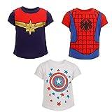 Marvel Toddler Girls 3 Pack T-Shirts Captain Marvel America Spider-Girl 2T