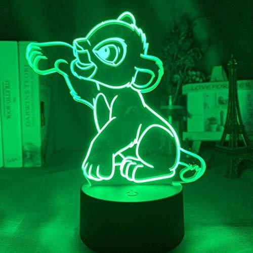 Lampe 3D Nuit Illusion Optique Nuit Simba Lion King Convient Pour Chambre Enfants Anniversaire Saint Valentin Cadeau-Crack Base_Simba Atteint