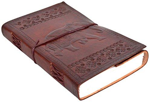 Notizbuch Tagebuch Skizzenbuch Buch Motiv Elefant DIN A5 Braun Leder