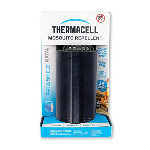 Thermacell Patio Shield Mosquito Repellent Metal Edition, Obsidian; Easy to Use, Highly Effective; Provides 12 Hours of DEET-Free Backyard Mosquito Repellent; Scent-Free, No Spray, No Smoke, Cordless