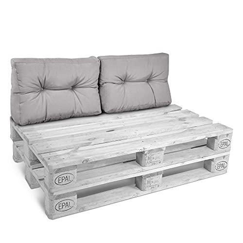 Beautissu Set da 2 Cuscini per spalliera di divanetti con Pallet o bancali Eco Style 60x40x10/20cm cad. - Grigio Chiaro
