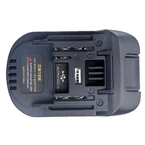 Adaptador de batería DM18M Adaptador de cargador de litio compatible con Milwaukee Makita 18-20V herramienta de batería de iones de litio duradera