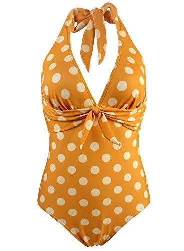 Doballa Damen Retro 50er Jahre Polka Dots Print Vintage V-Ausschnitt Halfter EIN Stück Fliege vorne Bikini Badeanzug (S, Goldgelb)