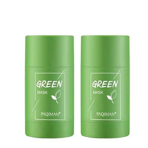 2 Pcs Green Tea Purifying Clay Stick Mask, Face Moisturizes Oil Control, Deep Clean Pore Improves Skin for All Skin Types Men Women (Green Tea )