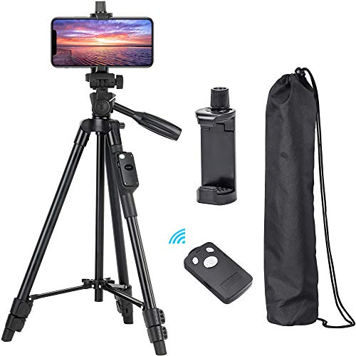 """Phone Tripod, Eocean 50"""" Extendable Aluminum Tripod Stand with Phone Holder Mount & Remote, Video Tripod for Cellphone, Camera, Compatible with iPhone/Android, Perfect for Vlogging, Live Streaming"""