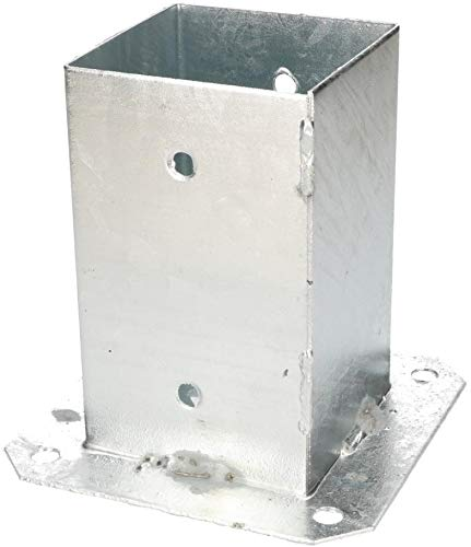 KOTARBAU® Manicotto a vite 90 x 90 mm quadrato per pilastri in legno manicotto per terreno manicotto zincato a caldo supporto per piastra pavimento ancoraggio pali