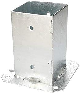 KOTARBAU® Soporte manguito atornillado 90 x 90 mm cuadrado para madera para postes casquillo de poste para el suelo casquillo galvanizado en caliente soporte de suelo manguito de montaje