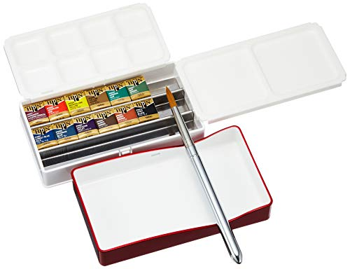 Holbein Artist's Watercolors Set of 12 Half-Pans with Brush (Palm Box) PN691