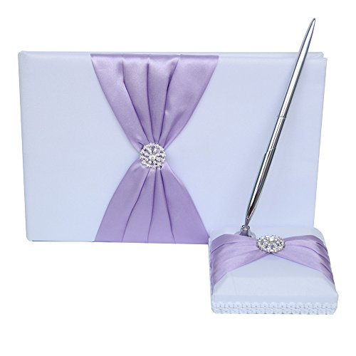 Guest Book and Pen Set Holder, Hardcover with Stain Ribbon and Rhinestone Decorations for Rustic Wedding Ceremony Party Favor-Lavender, 72 Pages