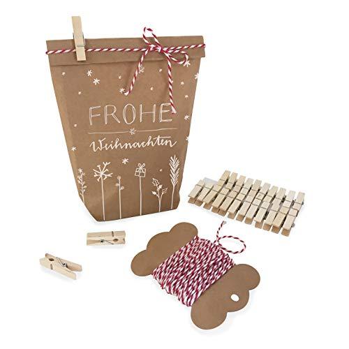 Eine der Guten Weihnachtstüten Geschenktüten Set Frohe Weihnachten, mit 24 gestempelten Kraftpapiertüten, Mini-Holzklammern & Deko-Garn, Geschenkverpackung für Plätzchen, Kekse, 14,5 cm x 22 cm