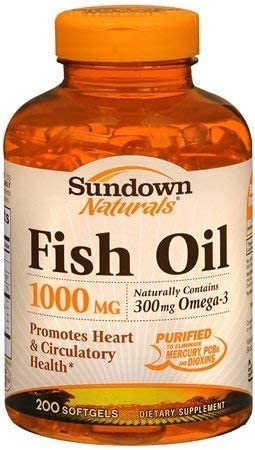 Sundown Naturals Fish Oil 1000 mg Softgels Pac 4 years safety warranty Omega ct 3 200 -