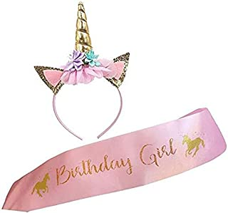 Unicorn Headband and Birthday Girl Sash Set, Gold Glitter Unicorn Horn & Pink Satin Sash for Unicorn Birthday Girl Set Happy Birthday Party Supplies Favors and Decorations