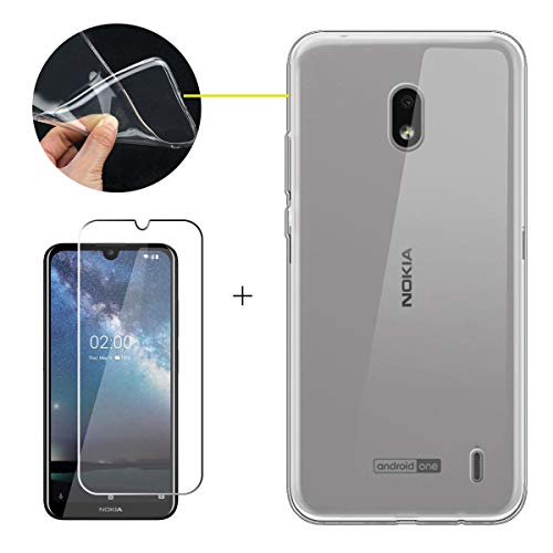 LJSM Hülle für Nokia 2.2 + Panzerglas Bildschirmschutzfolie Schutzfolie - Transparent Weich Silikon Schutzhülle Crystal Flexibel TPU Tasche Hülle für Nokia 2.2 2019 (5.71