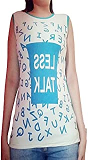 Round Neck Lady top Without Sleeves White and Greenish Blue
