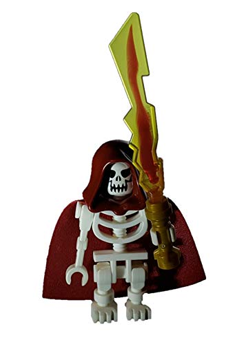 LEGO Skeleton Castle Custom Red Reaper Skeleton Minifigure with Burgundy Hood, Cape and Fire Elemental Blade Weapon with Pearl Gold Hilt
