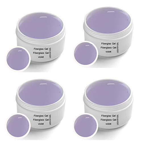 4 x 30 ml UV Fiberglas Gel Violet Premium Line Klar – Finishgel Aufbaugel Haftgel mit Gilbschutz - Top Coat - High Gloss
