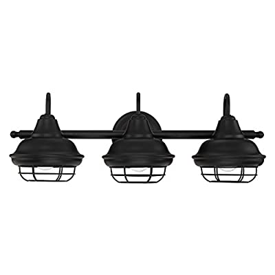 Designers Impressions Charleston Matte Black 3 Light Wall Sconce/Bathroom Fixture: 10011