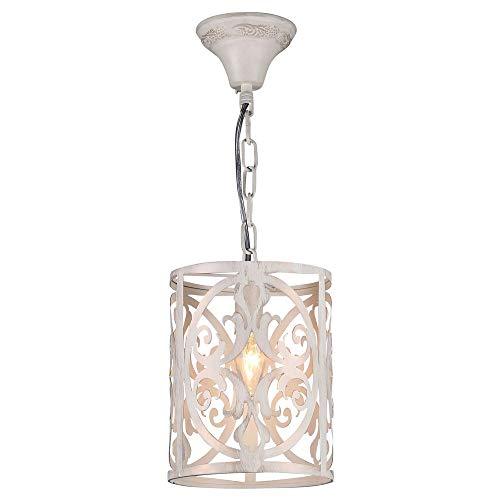 Pendelleuchte & Hängeleuchte Pendelleuchte mit dekorative ausgestanztem Lampenschirm 180mm Creme RUSTIKA E14 Metall | 1-flammig