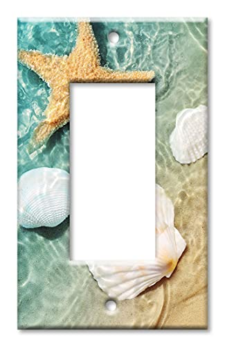 Art Plates - Single Gang Rocker/Decora/GFCI Switch Plate Cover - Sea Shells and Star Fish in Ocean Beach Tide Pool