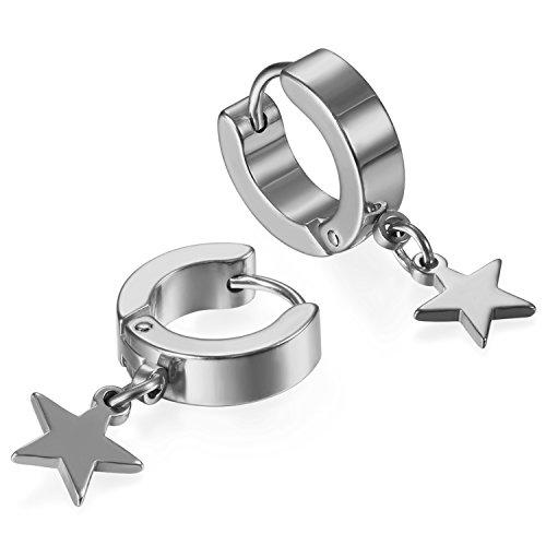 JewelryWe Schmuck Ohrringe Creolen, Edelstahl Huggie Hoop Klappcreolen Ohrpiercing Ohrhänger Ohrstecker mit Stern Anhänger für Herren Damen Silber