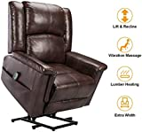 Esright Electric Power Lift Chair Recliner for Elderly Faux Leather Heated Vibration Massage with Massage Remote...