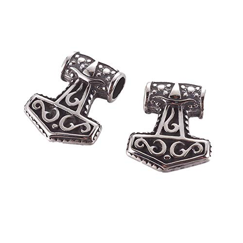 CHGCRAFT 10pcs Antique Silver Viking Thor's Hammer Pendants 304 Stainless Steel Hammer Charms Celtic Knot Beads Pendants for Bracelets Necklace Jewelry Making, 20x17x6mm