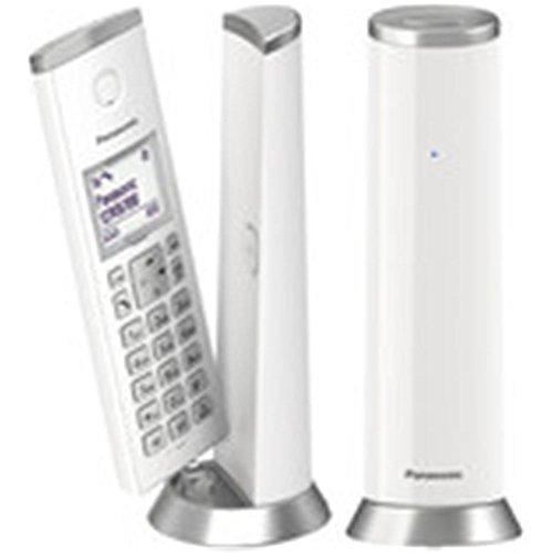 Panasonic KX-TGK212 - Teléfono fijo inalámbrico de diseño Dúo (LCD, identificador de llamadas, agenda de 50 números, bloqueo de llamada, modo ECO), color blanco