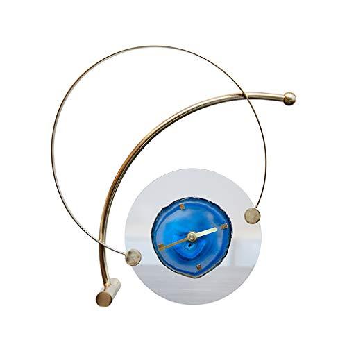 Summerone Europäische Uhr Wecker Dekoration Heimtextilien Büro Tischuhr Dekoration Musterzimmer Luxusuhr (Color : Blue)