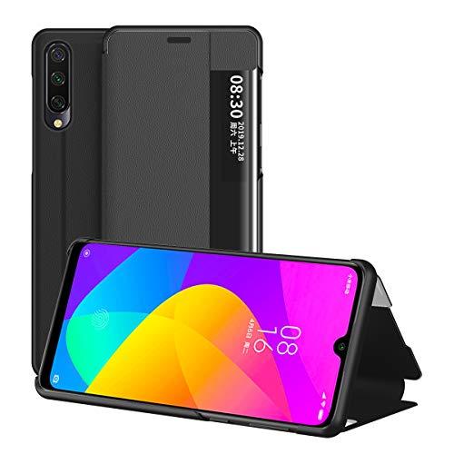 Xiaomi Mi 9 Lite Hülle, Midcas Klapphüllen mit Sichtfenster Smart View Leder Tasche mit Standfunktion Schutzhülle für Xiaomi Mi 9 Lite Schwarz