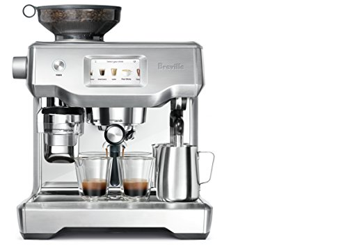 Breville Fully Automatic Espresso Machine, Oracle Touch 8 SWIPE. SELECT. ENJOY: With automation at every stage, simply swipe and select for espresso, long black, latte, flat white or cappuccino and enjoy caf? quality coffee at home DOSE AMOUNT: The integrated conical burr grinder automatically grinds, doses and tamps 22 grams of coffee, similar to the commercial machine in your favorite cafe PRECISE WATER TEMPERATURE: The difference between an ashy or balanced tasting espresso can be caused by temperature change as little as 2?F. The Oracle Touch uses digital temperature control (PID) technology, this ensures the temperature is kept at its optimum range.