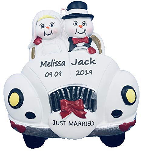 Personalized Just First Married Vintage Wedding Car Christmas Engraved Ornament 2020
