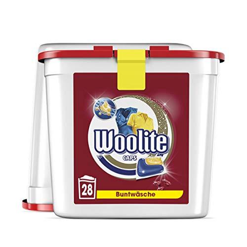 Woolite Caps Color – Pflegende Feinwaschmittel Caps für Buntwäsche – Für 56 Waschladungen – 2er Pack (2 x 28 Caps)