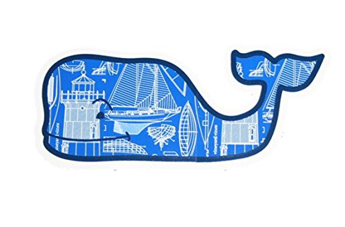 Vineyard Vines Lighthouse Boat Face Whale Vinyl Sticker Decal (Blue/White/Black)
