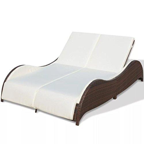 vidaXL Sonnenliege mit Auflage Doppelliege Gartenliege Relaxliege Gartenmöbel Liege Strandliege Freizeitliege Liegestuhl Poly Rattan Braun