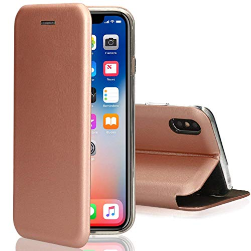 o'star Flip Leather Wallet Case for iPhone Xr Standing Magnetic Cover Clamshell Case 360-degree Protective (Rose Gold)